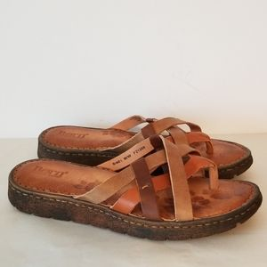Born Leather Sandals Brown Multi New 9M